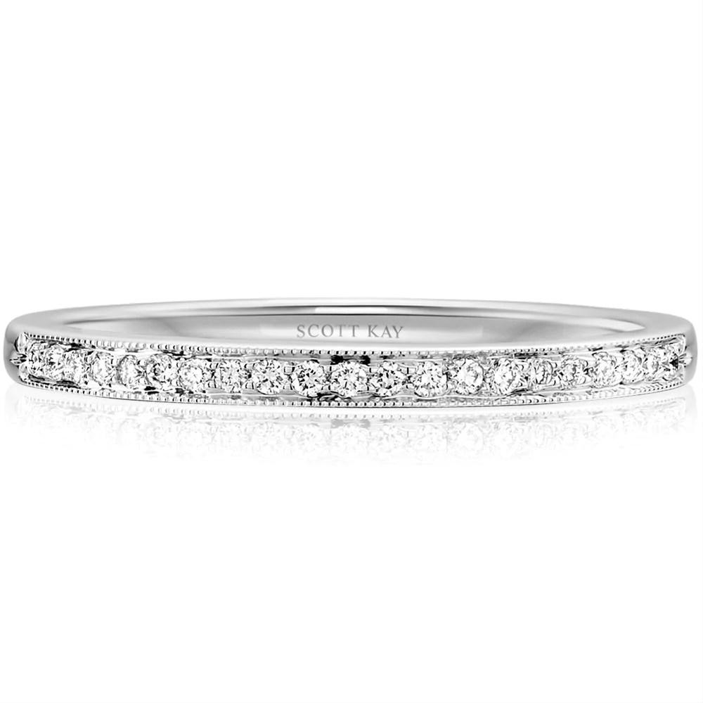scott kay milgrain thin narrow diamond wedding band ring 19k white gold bmm milgrain wedding band Scott Kay Milgrain Thin Narrow Diamond Wedding Band Ring 19K White Gold