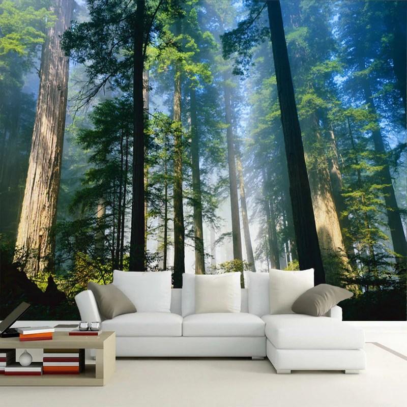 Custom 3D Wall Murals Wallpaper Fog Towering Trees Forest   BVM Home