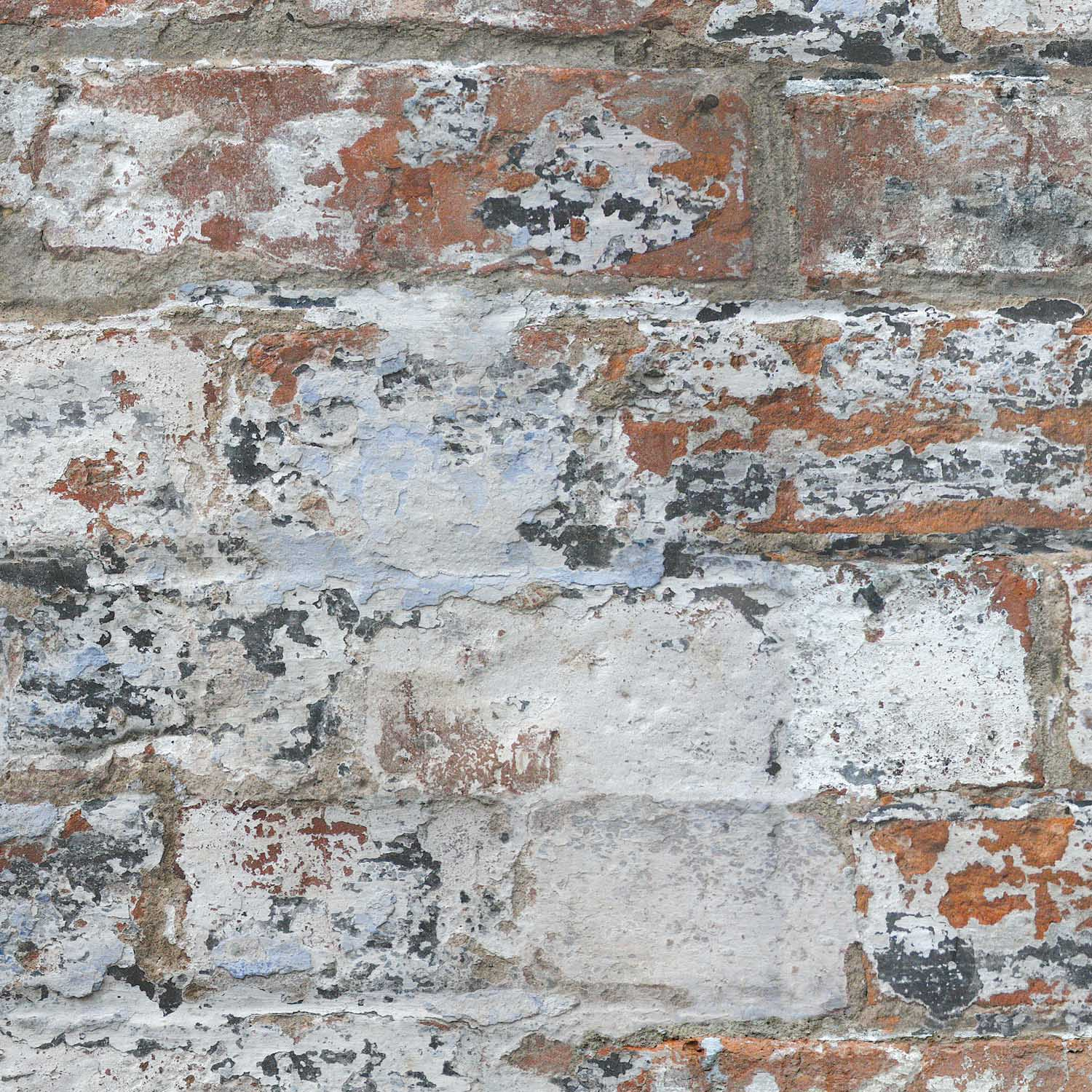 Marseille Reclaimed Brick & Plaster Effect Wallpaper| White & Red – Your 4 Walls