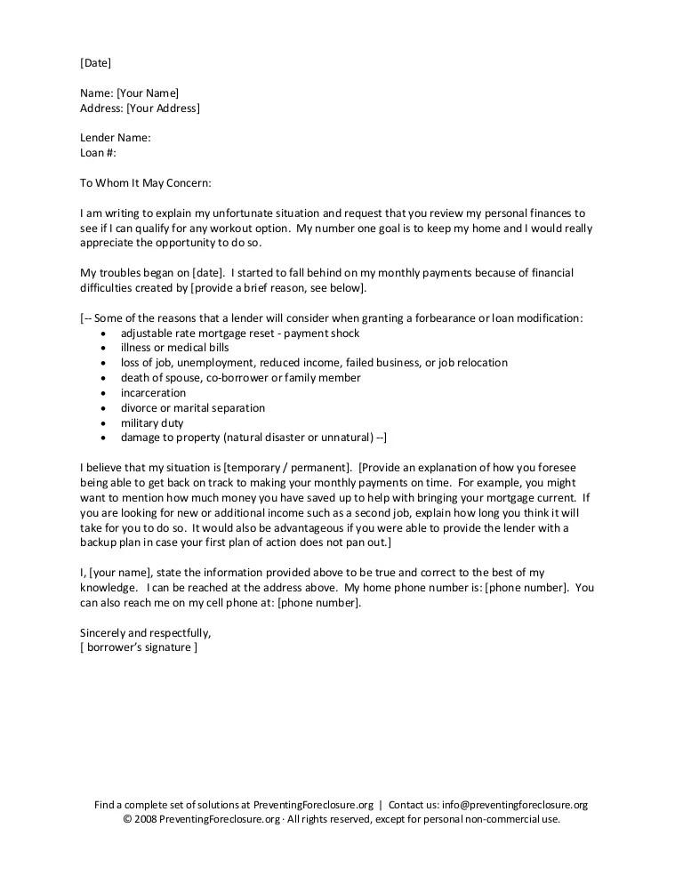 Hardship letter sample template