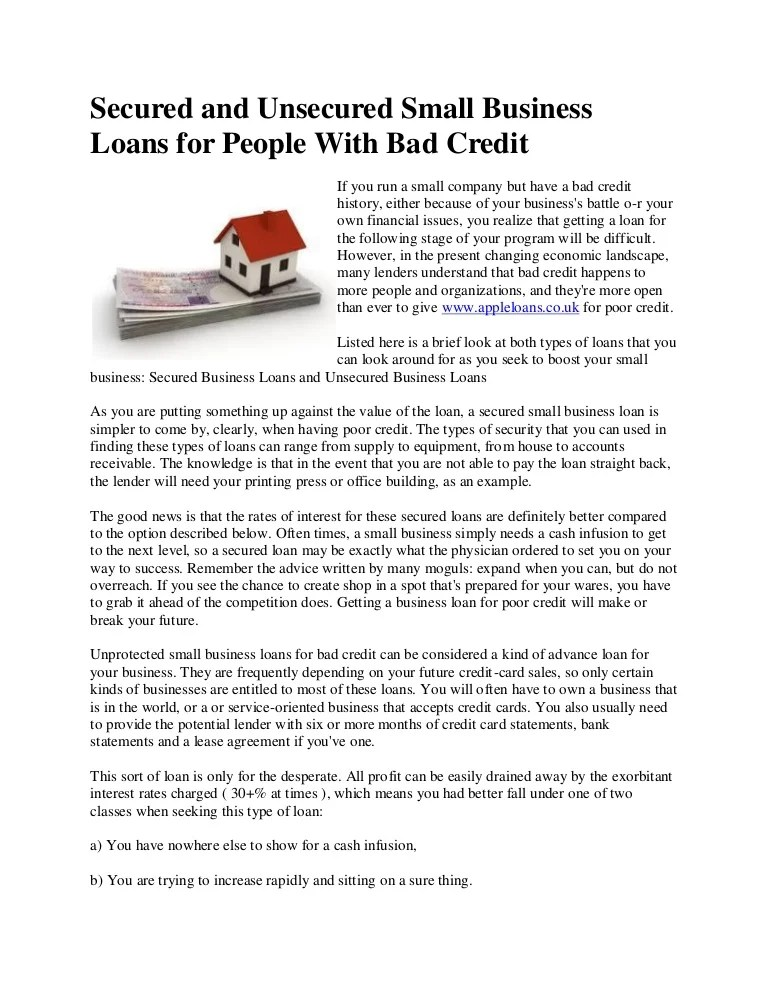 Secured and unsecured small business loans for people with bad credit