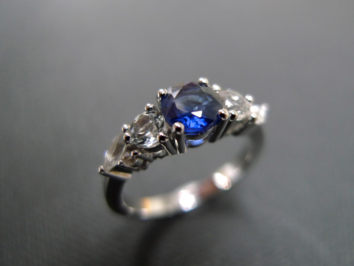 blue sapphire and white sapphire ring white sapphire wedding rings Blue Sapphire and White Sapphire Ring