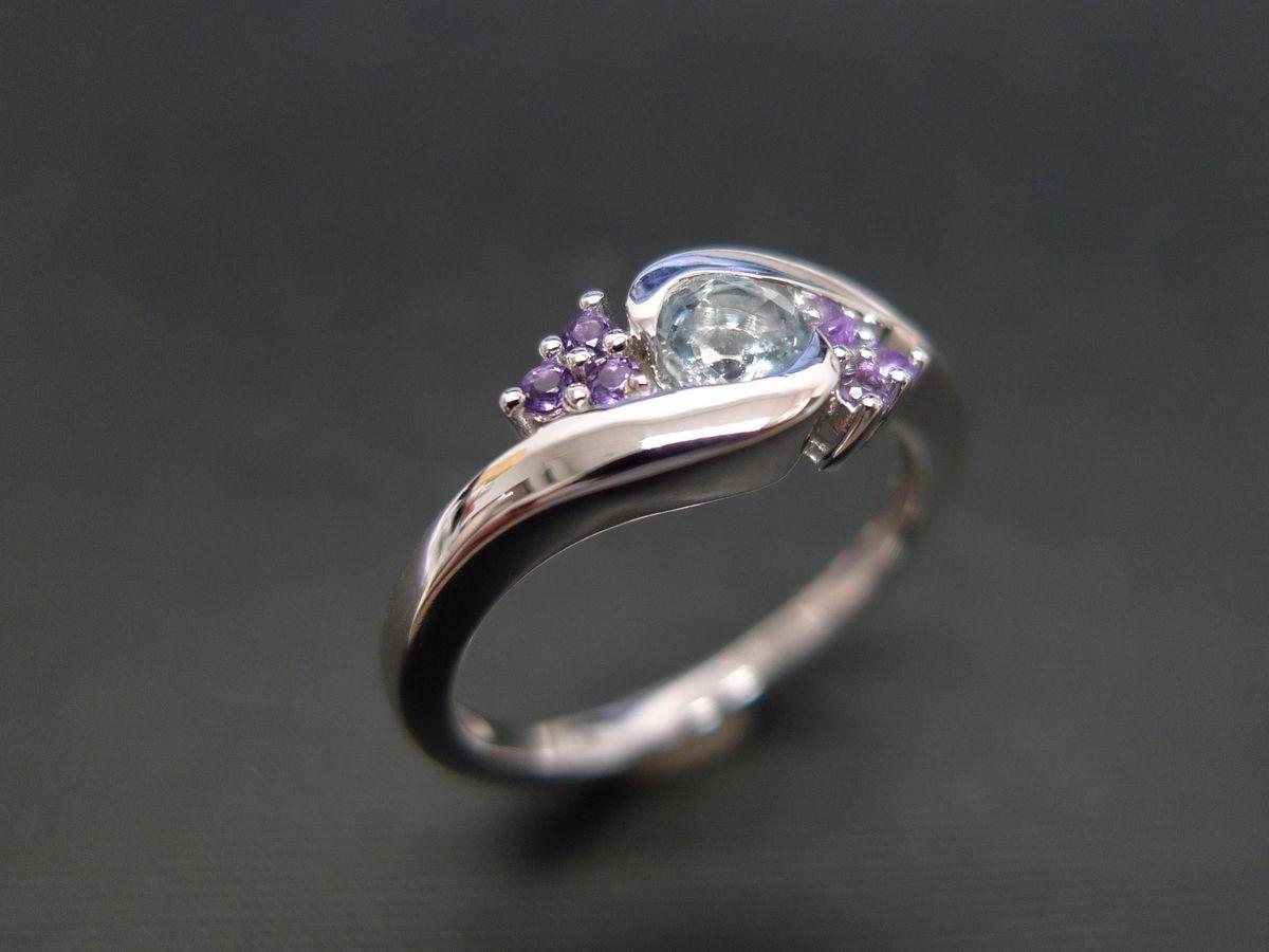 rings purple diamond wedding ring Aquamarine and Amethyst Ring Jewelry Ring engagement ring Aquamarine anniversary gift round