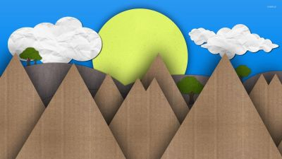 Sun and mountains made from cardboard wallpaper - Artistic wallpapers - #50767