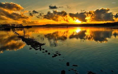 Sunset over the lake wallpaper - Nature wallpapers - #17540