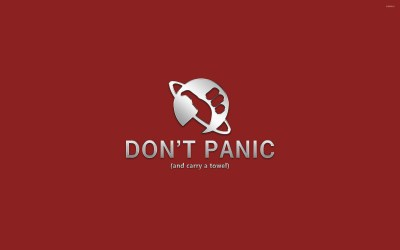 Don't panic and carry a towel wallpaper - Vector wallpapers - #27528