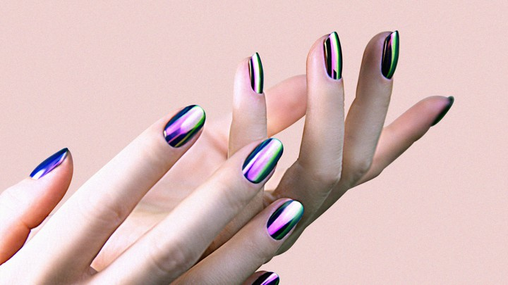 How Do Chrome Nails Work    The Atlantic A person modeling chrome nail polish