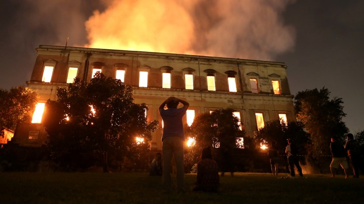 Brazil s Museum Fire  200 Years of Work Lost   The Atlantic Outside spectators watch the National Museum in Rio de Janeiro burn