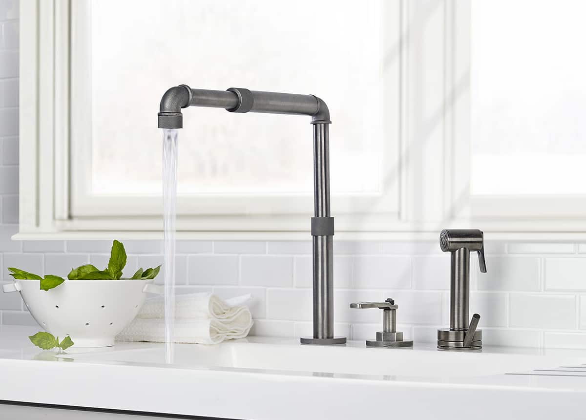 industrial style faucets by watermark to give your plumbing the cool look you always wanted industrial kitchen faucet View in gallery watermark elan vital monoblock kitchen faucet 5