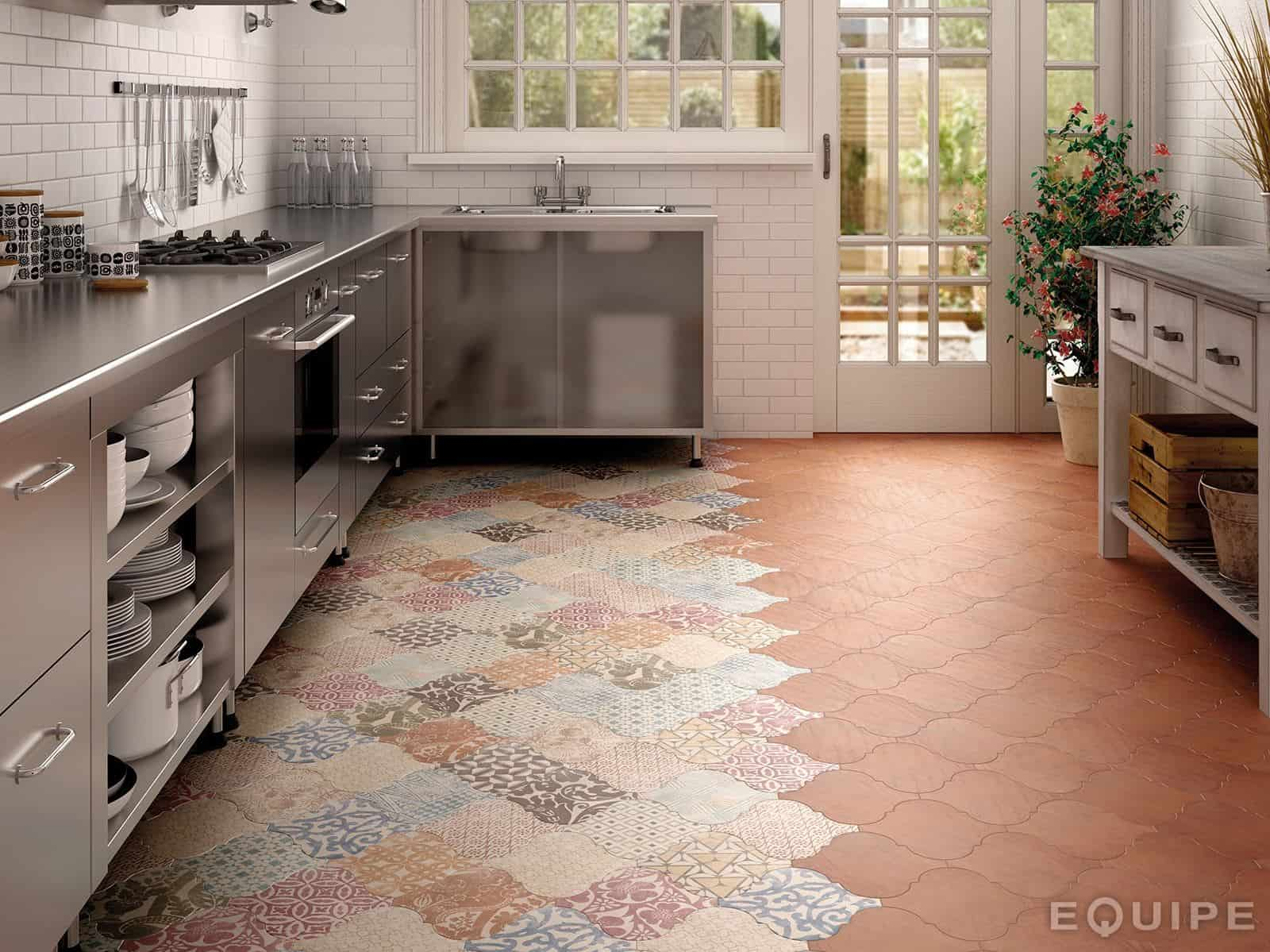 21 arabesque tile ideas for floor wall and backsplash kitchen floor ideas View in gallery arabesque tile kitchen floor patchwork equipe 4