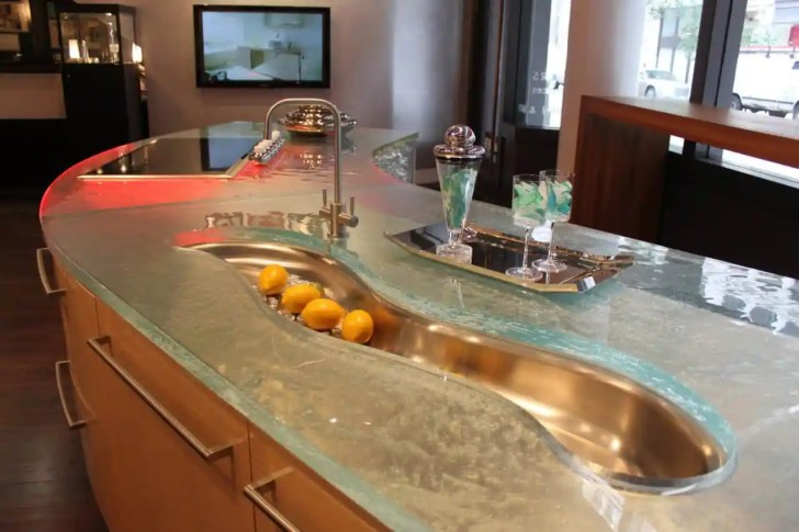 modern kitchen countertops from unusual materials modern kitchen countertops View in gallery modern countertops unusual material kitchen glass 4