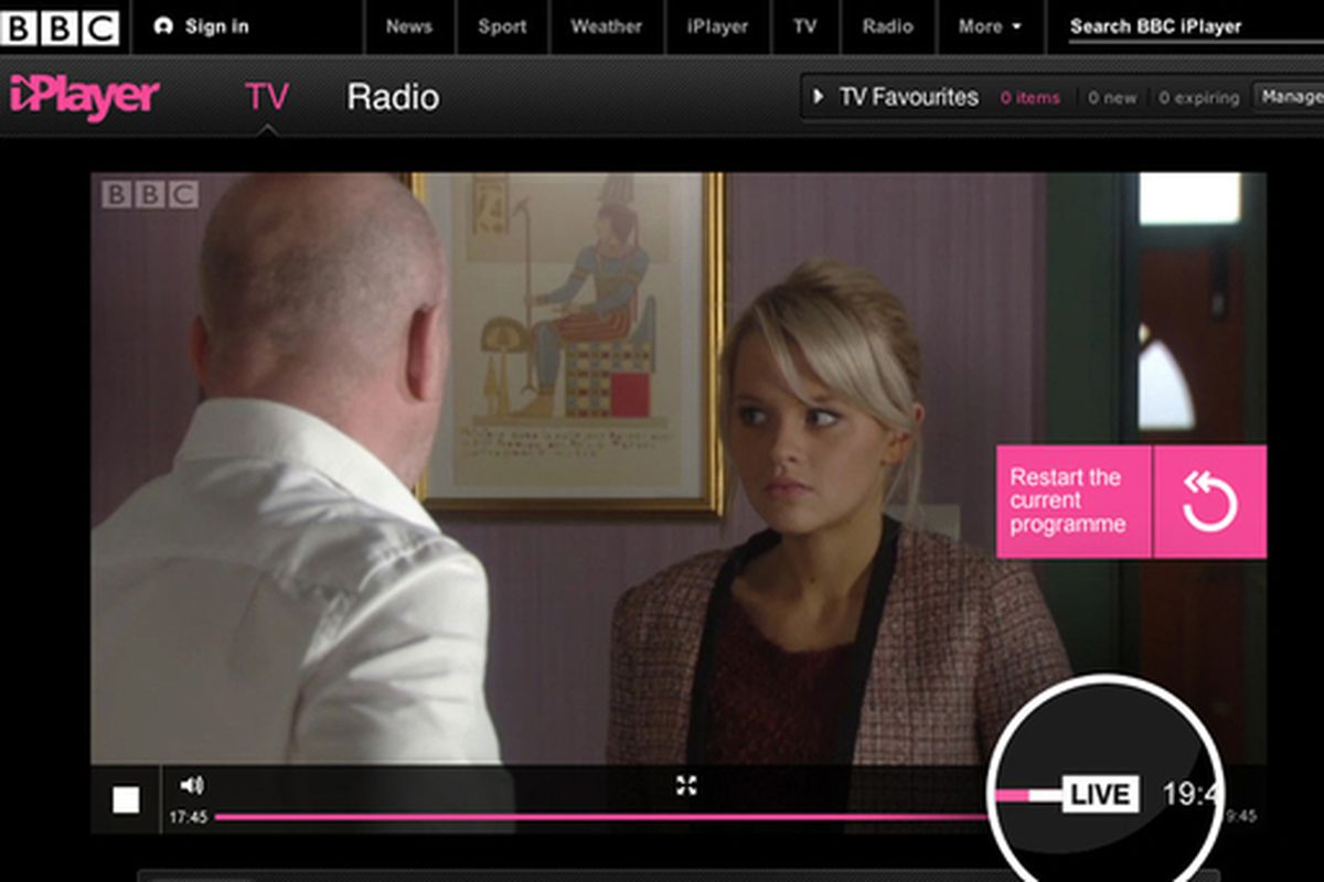 BBC iPlayer now lets you rewind and restart live TV   The Verge BBC iPlayer Live Restart