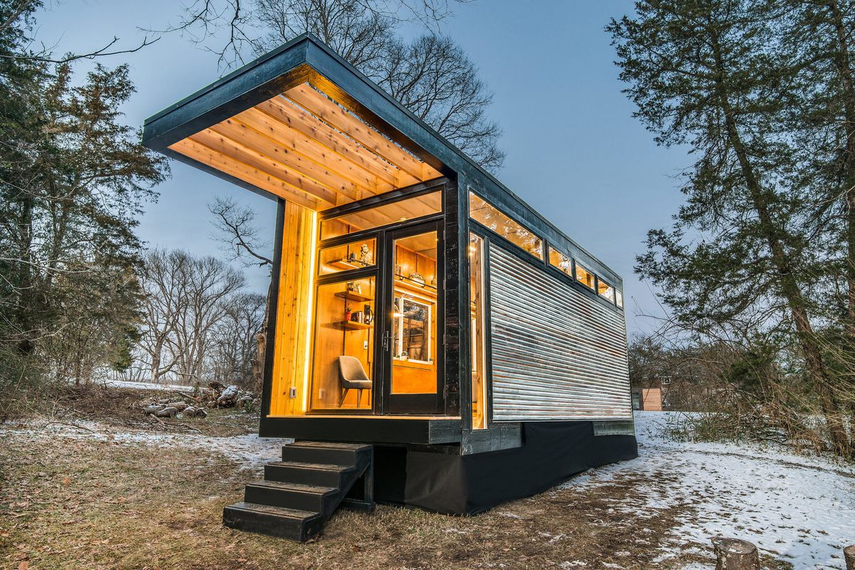 New tiny house also serves as writing studio and library   Curbed New Frontier Tiny Homes