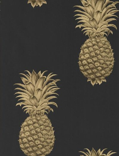 Pineapple Royale by Sanderson - Graphite / Gold : Wallpaper Direct
