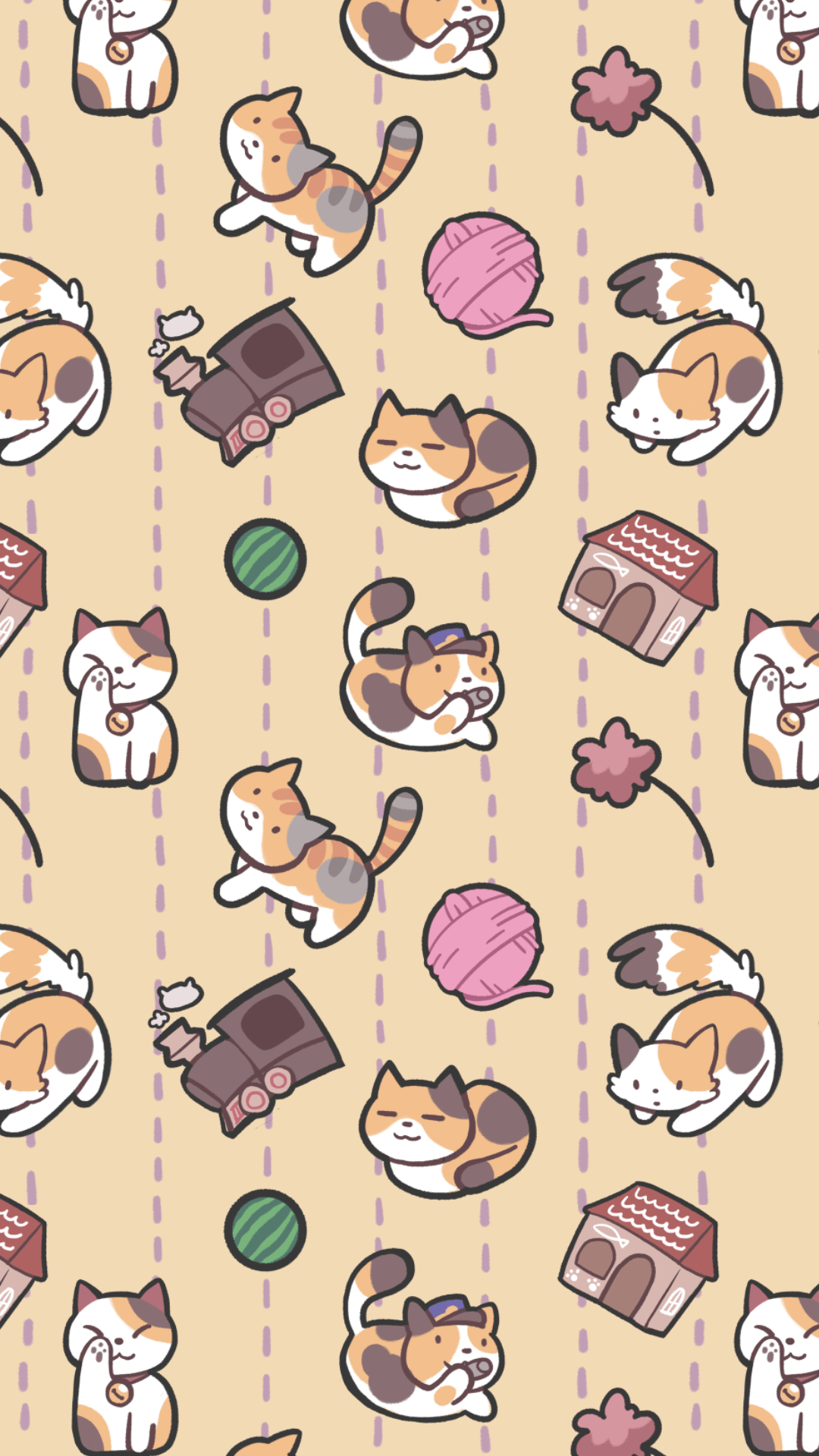 neko atsume lock screen/wallpaper — Weasyl