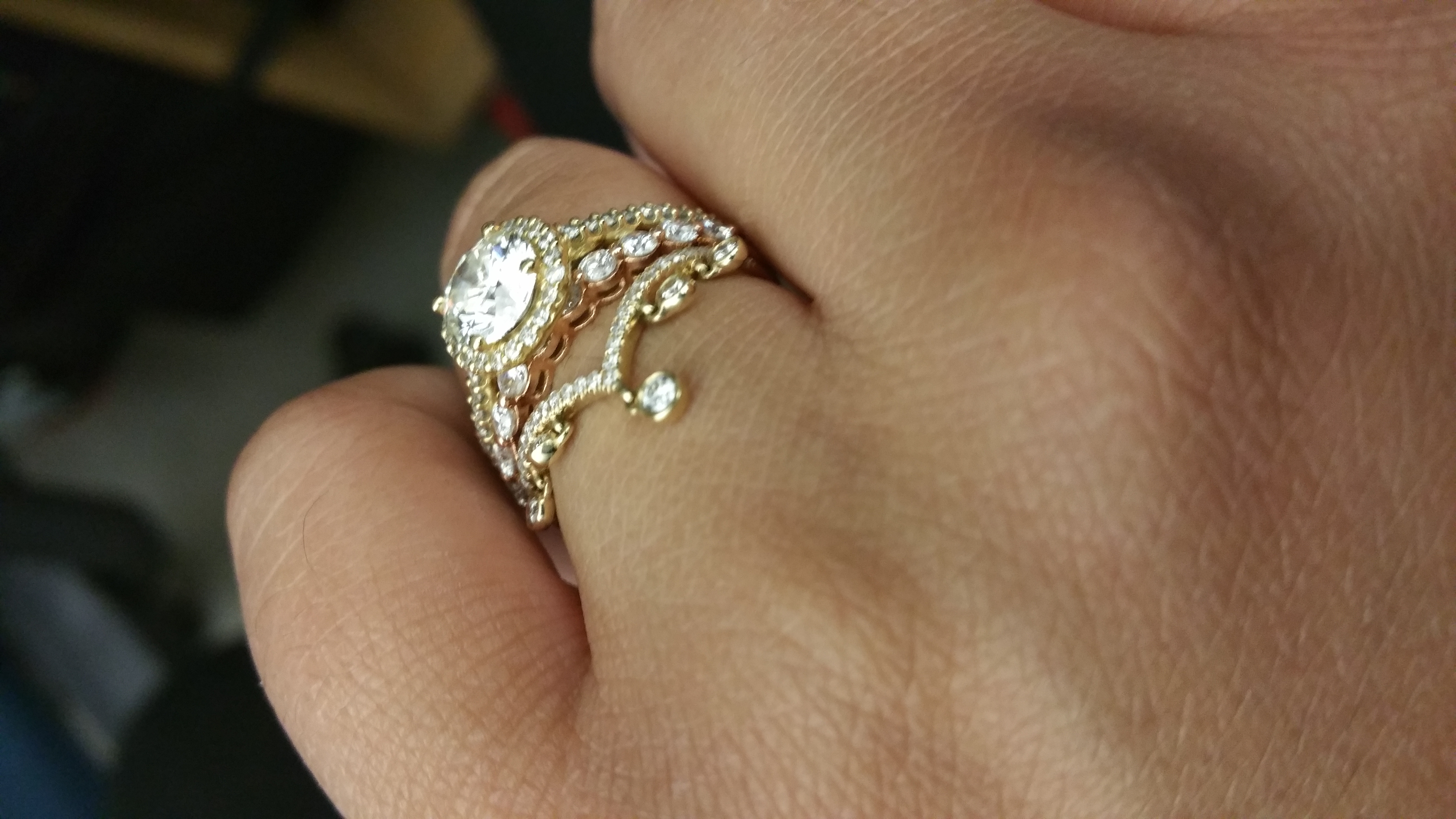 would love to see the profile of your halo ring low profile wedding ring I have a low profile halo I like it that way since I m not fond of high settings but I am glad that my wedding band fits under it