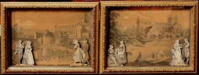 Pair of English Shadow Box Print Dioramas circa 1860-1880 : New Hampshire Antique Co-op | Ruby Lane