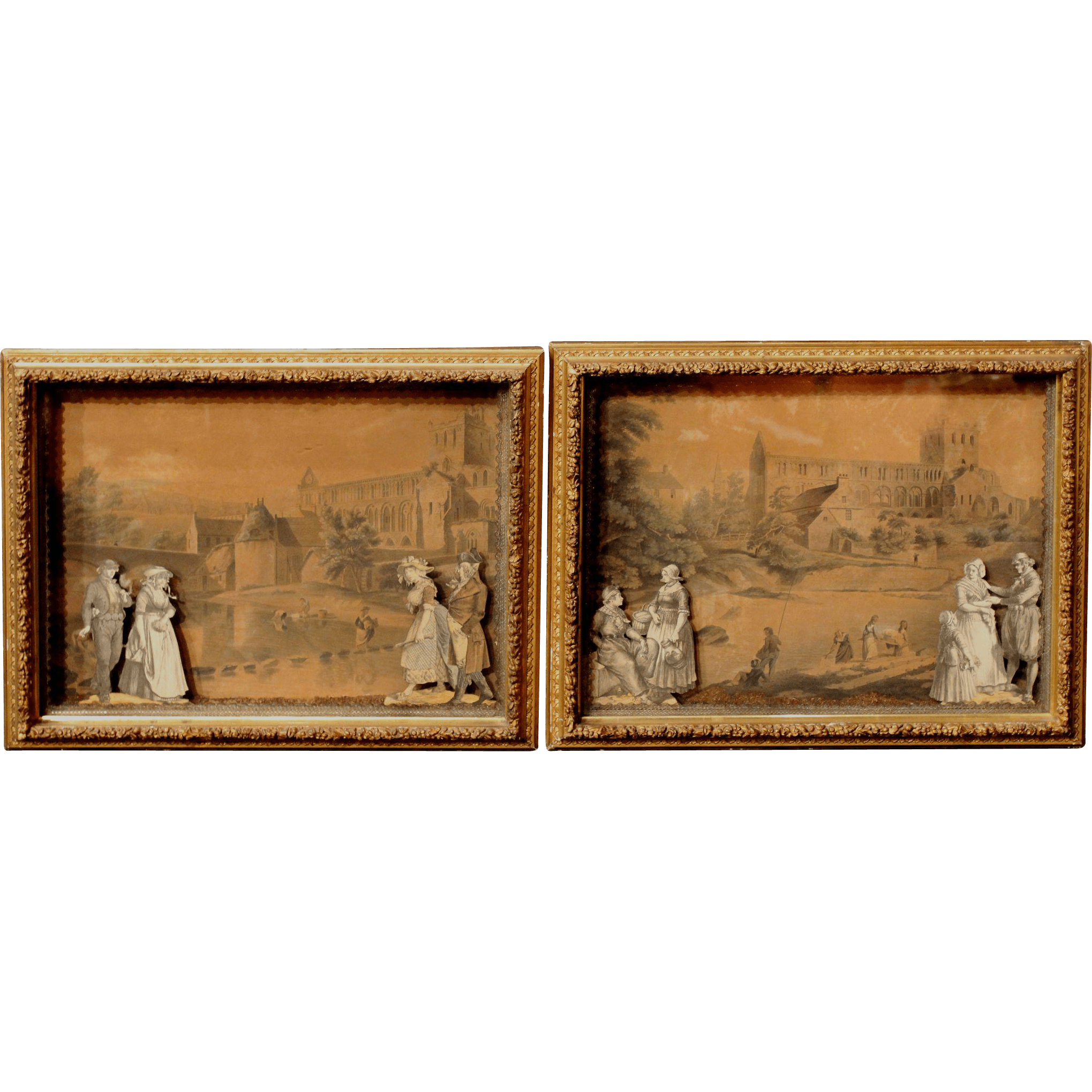Pair of English Shadow Box Print Dioramas circa 1860-1880 from nhantiquecoop on Ruby Lane