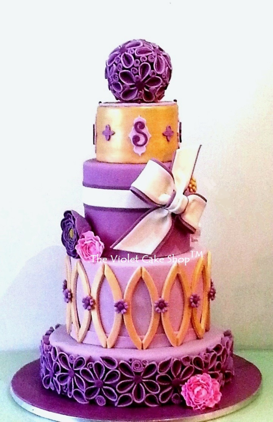 purple gold damask wedding cake purple and gold wedding Purple Gold Damask Wedding Cake on Cake Central
