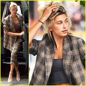 Hailey Baldwin Photos  News and Videos   Just Jared Hailey Baldwin Rocks Plaid Suit While Out in NYC