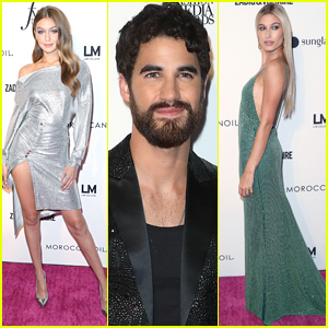 Hailey Baldwin Photos  News  and Videos   Just Jared Jr  Host Darren Criss Joins Gigi Hadid   Hailey Baldwin at Fashion Media Awards