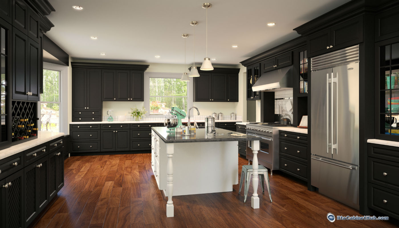 bristol dark assembled kitchen cabinets Signature Brownstone