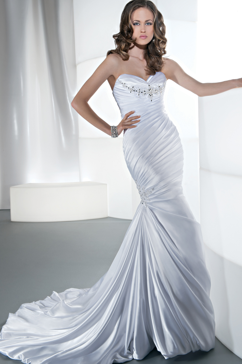 wedding dress side ruching jeweled wedding dress Jeweled Demetrios Ruched Wedding Dresses Style Gr Satin Ruched Fit And Flare With A Sweetheart Neckline