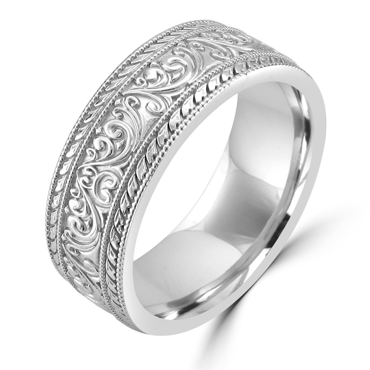 14K White Gold Unique Art Nouveau Carved Wedding Band - Wedding Bands & Co.