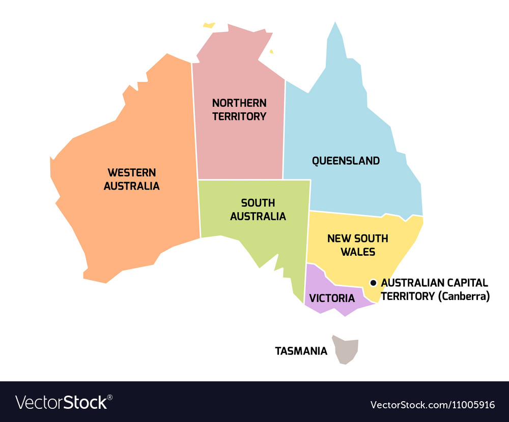 Australia map with states and territories Vector Image