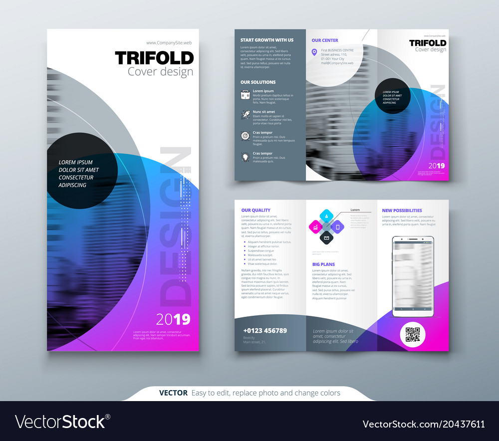 Tri fold brochure design purple corporate Vector Image