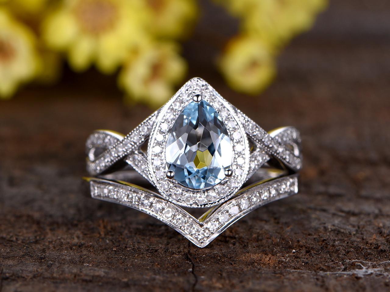 aquamarine wedding set aquamarine wedding rings 1 2 Carat Oval Aquamarine Bridal Set Diamond Wedding Ring 14k White Gold Split Shank Infinity Matching