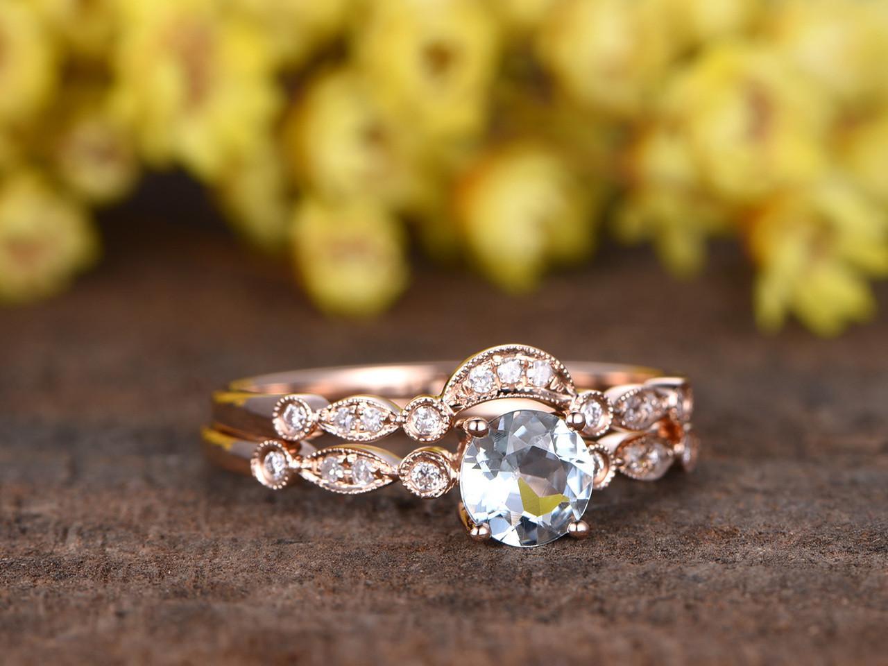aquamarine wedding set aquamarine wedding rings 0 5 Carat Round Aquamarine Bridal Set Diamond Wedding Ring 14k Rose Gold Art Deco Curve Matching