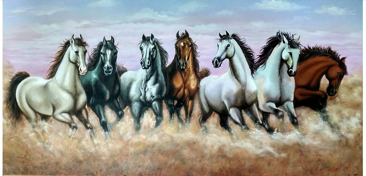 Buy VASTU 7 HORSES Handmade Painting by Preeti Dungarwal. Code:ART_2521_19719 - Paintings for ...