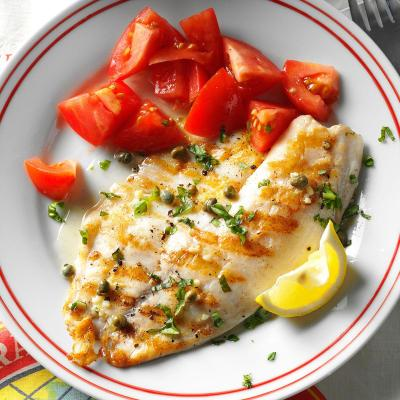 Grilled Tilapia Piccata Recipe   Taste of Home