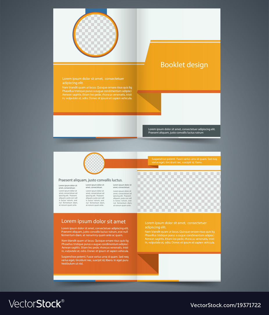 Yellow bifold brochure template design Royalty Free Vector Yellow bifold brochure template design vector image