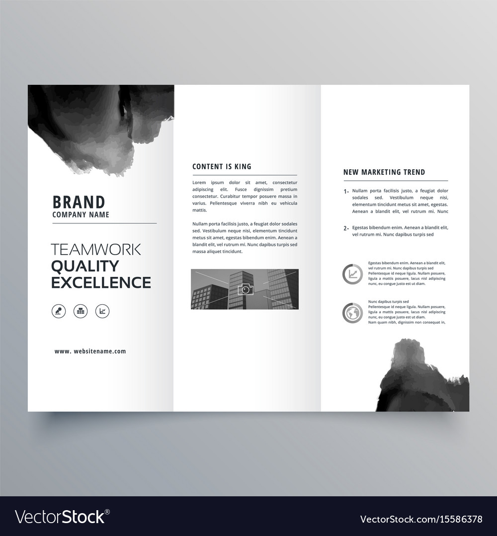 Black paint trifold brochure design template Vector Image