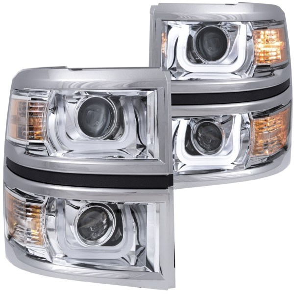 ANZO CHEVY SILVERADO 1500 2014 2015 PROJECTOR HEADLIGHTS U BAR     Anzo