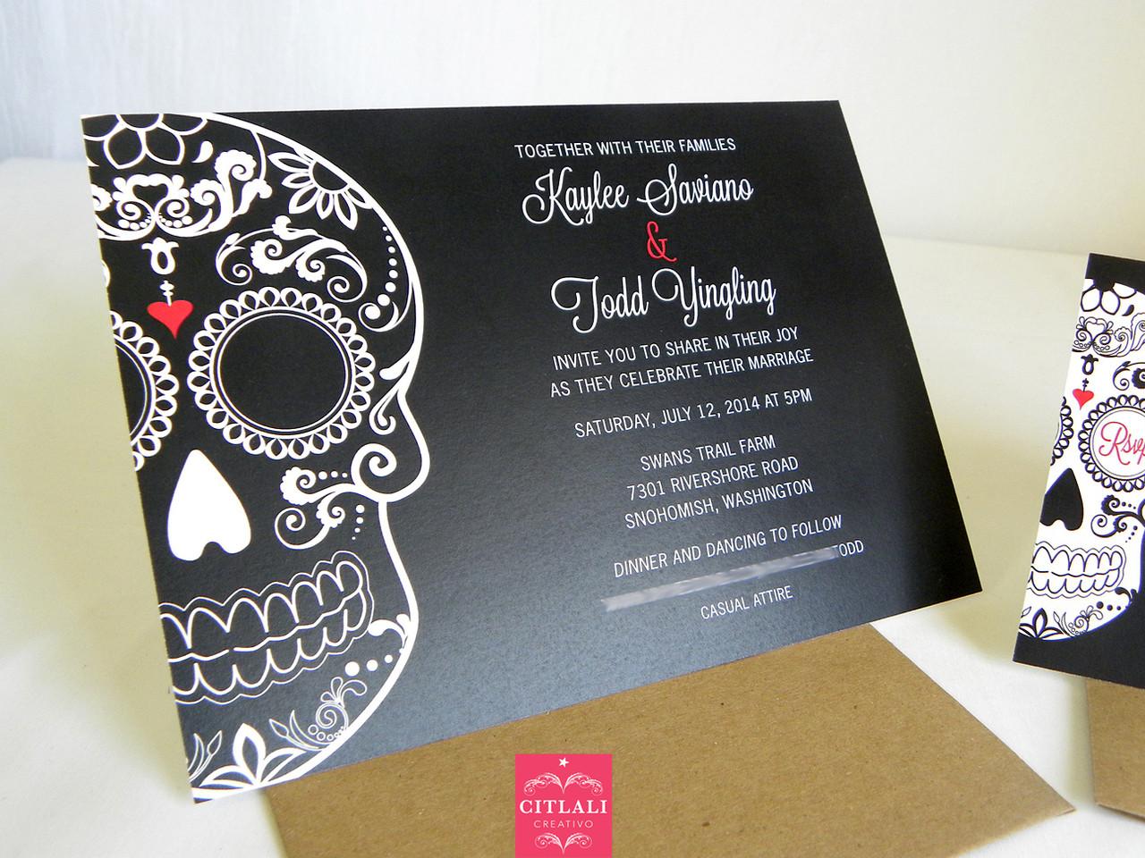 bold black sugar skull wedding invitations skull wedding invitations Black Red Large Skull Wedding Invitations