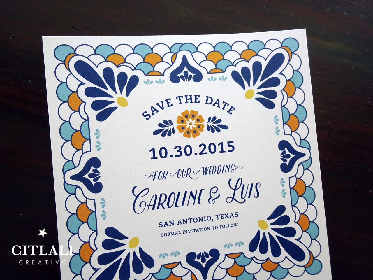 mexican papel picado sugar skull skull wedding invitations Talavera Spanish Tile Wedding Save the Dates