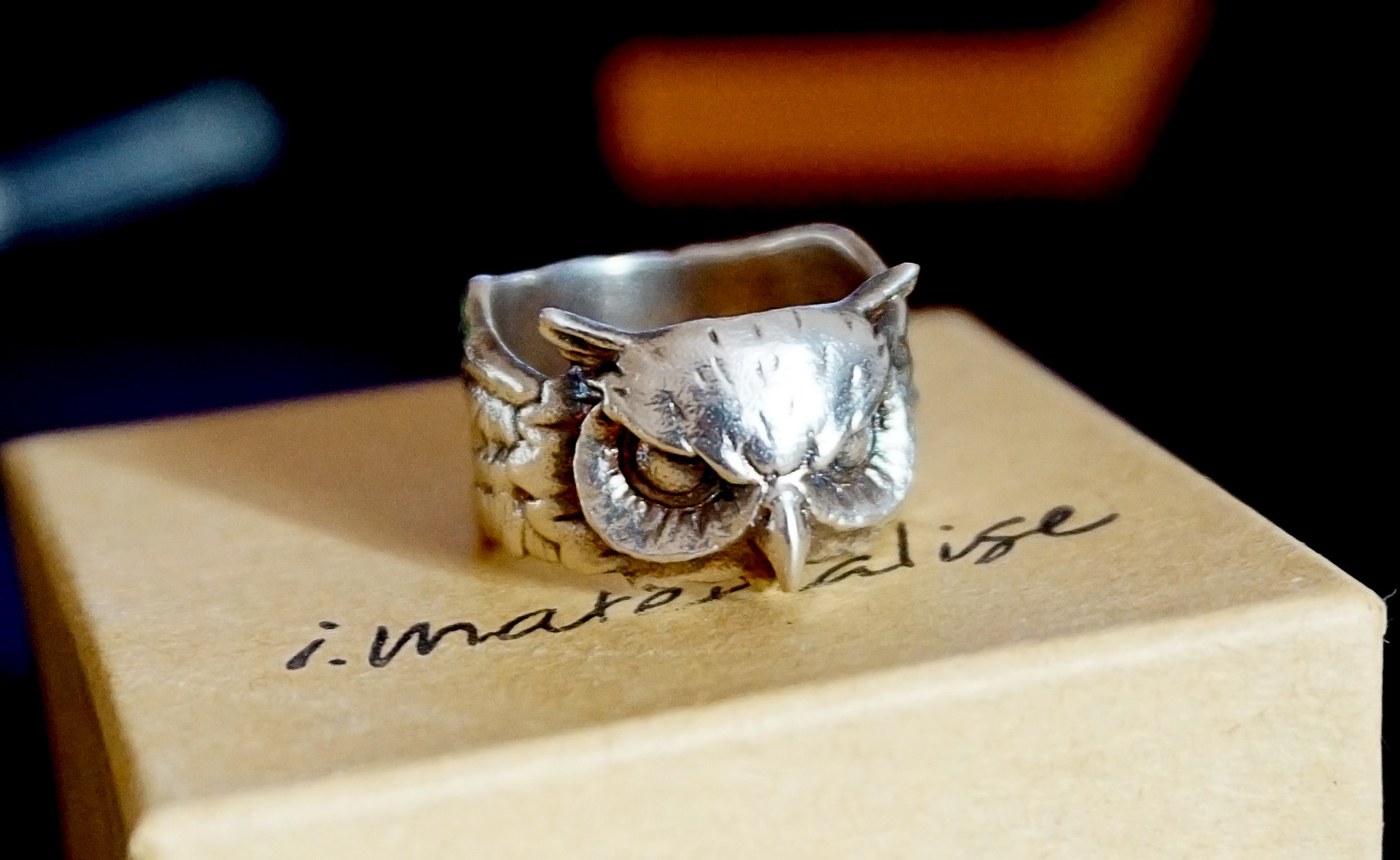 V owl wedding ring real picture