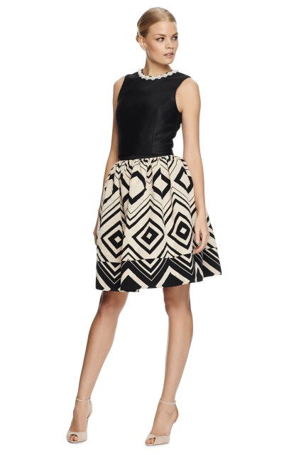 Martin Grant | Black Geometricjacquard Pleated Skirt | Lyst
