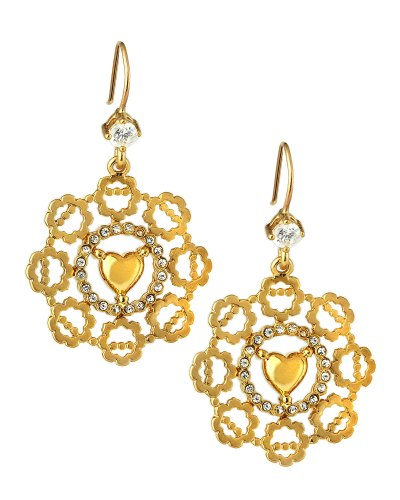 Juicy Couture Openwork Drop Earrings in Gold (null)   Lyst