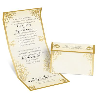 Ferns of Gold Seal and Send Invitation | Ann's Bridal Bargains