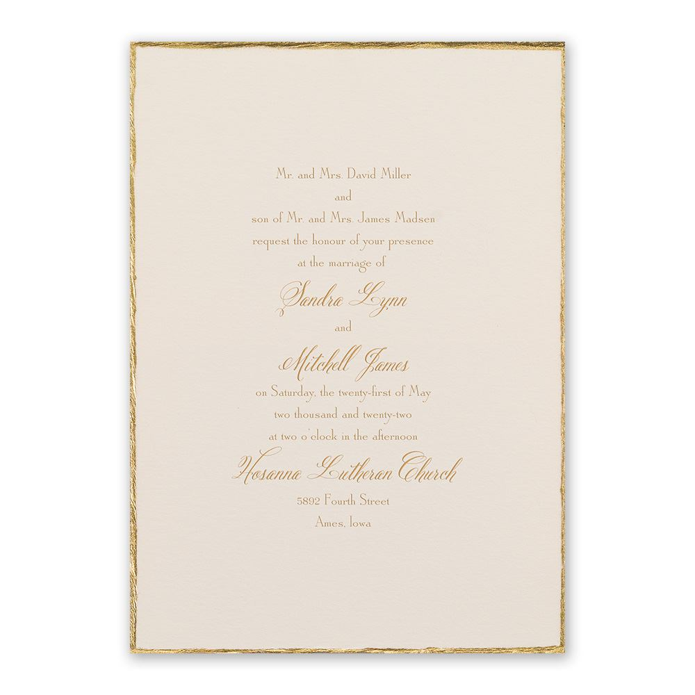 traditional wedding invitations traditional wedding invitations Traditional Wedding Invitations Gold Trim Invitation