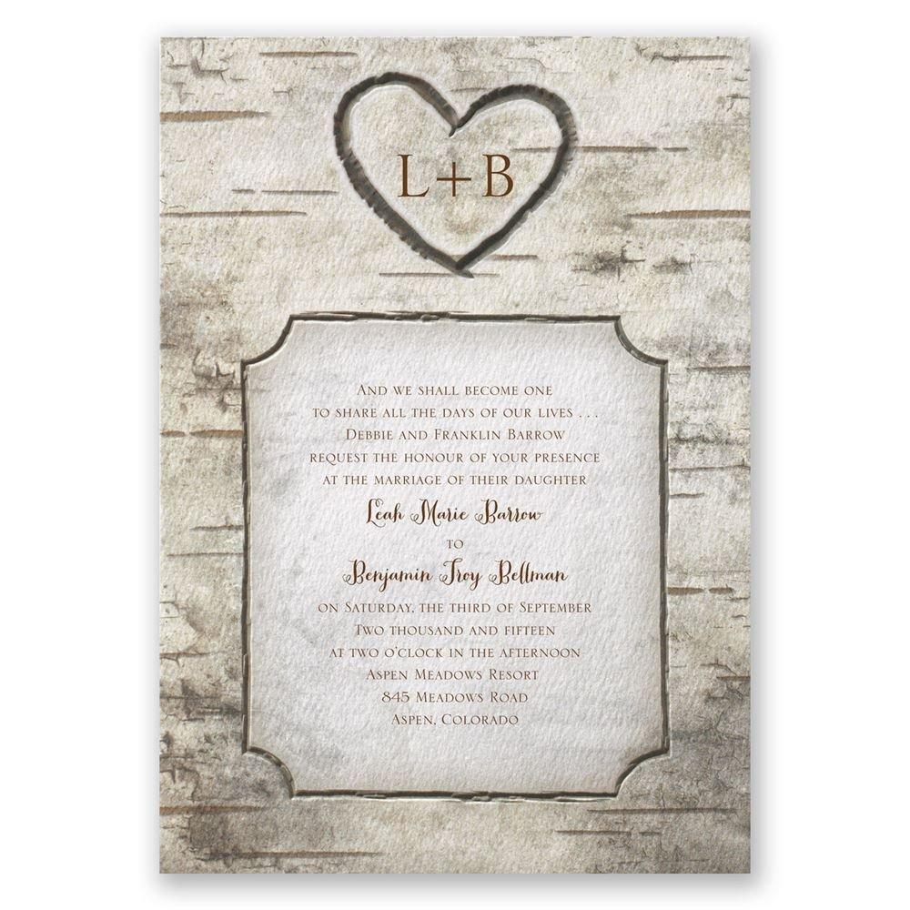 birch tree carvings invitation photo wedding invitations Birch Tree Carvings Invitation