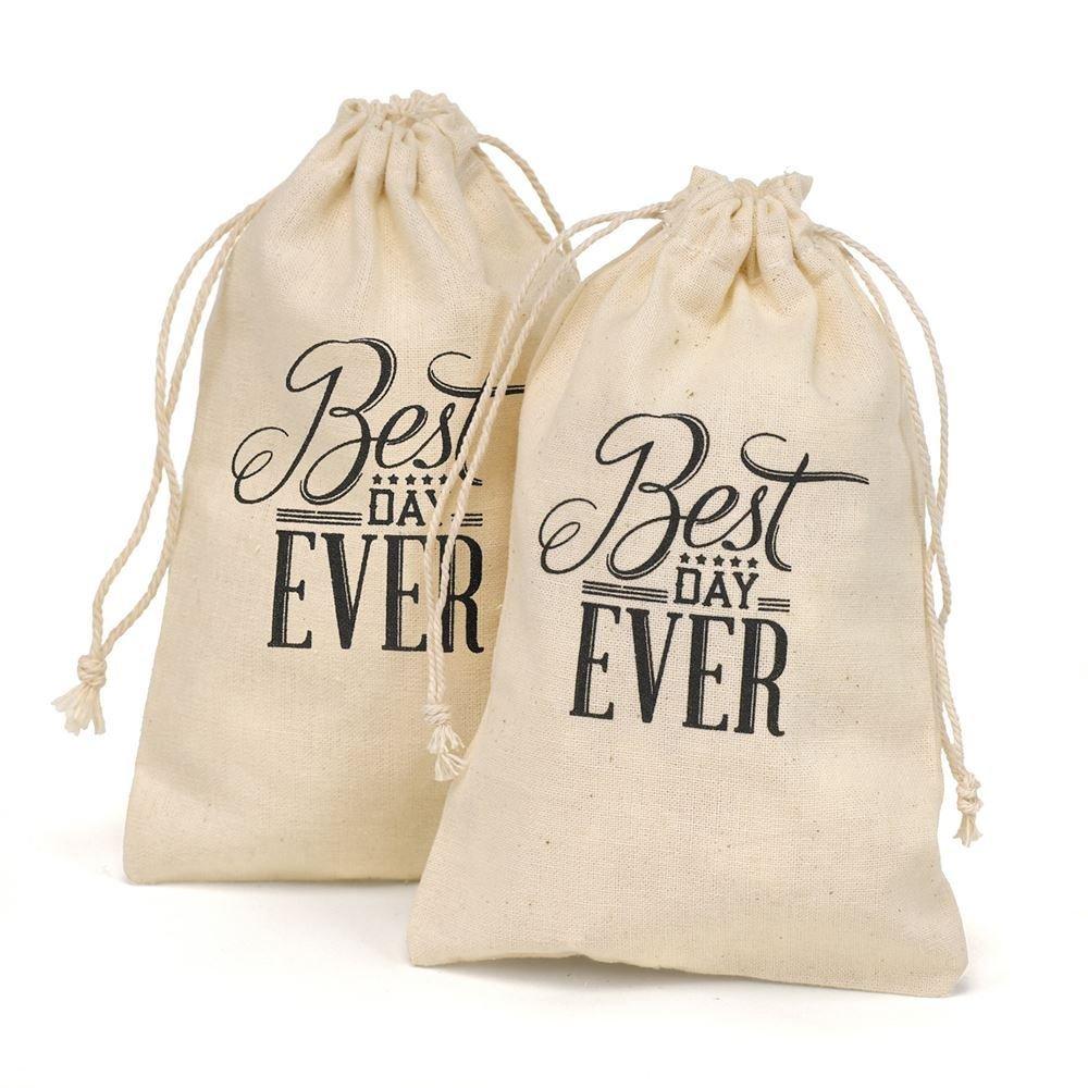 wedding favor bags wedding favor bags Wedding Favor Bags Best Day Ever Cotton Favor Bags