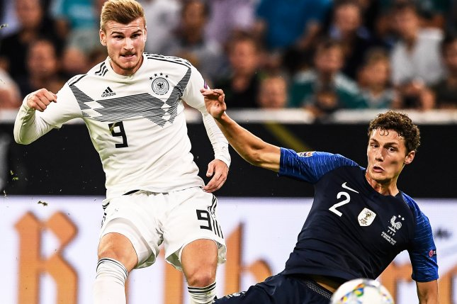 Watch  Germany s Antonio Rudiger cleats France s Benjamin Pavard on     Germany s Timo Werner  L  in action against France s Benjamin Pavard  R   during the UEFA Nations League soccer match between Germany and France on  Thursday