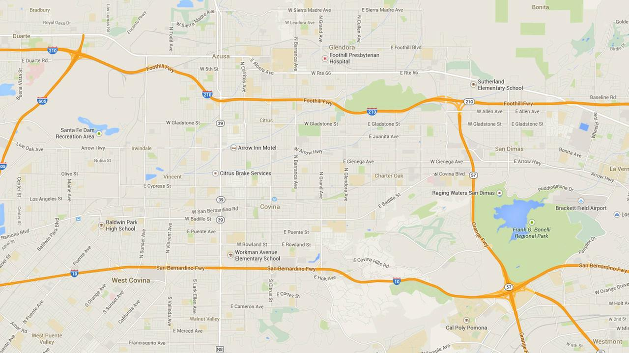 57 Freeway crash in San Dimas  Big rigs burst into flames  1 killed     This Google Maps image shows the 57 Freeway and the 210 Freeway where two  big rigs