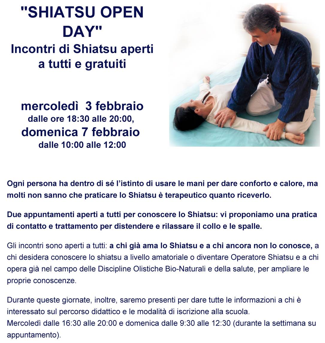 Orione news: Shiatsu open day