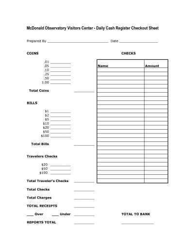Daily Cash Register Balance Sheet Template | charlotte clergy coalition